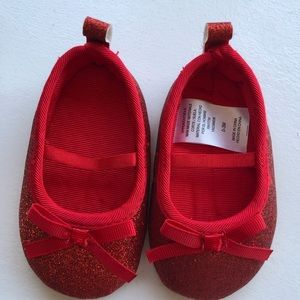 Red sparkly Mary Jane style shoes size 0-3 months